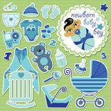 Cute items for Asian baby boy.Strips background Royalty Free Stock Images