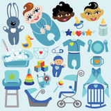 Cute items for baby boy.Baby shower icons Stock Image
