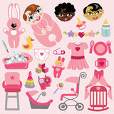 Cute items for baby girl.Baby shower icons. A set of cute cartoon elements for baby girl. Baby cartoon  icons for little girl.Baby shower collection.Vector Royalty Free Stock Photos