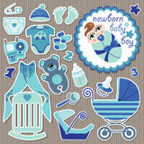 Cute items for  European baby boy.Strips background Royalty Free Stock Photography