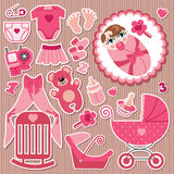 Cute items for European baby girl.Strips background. A set of cute cartoon elements for European newborn baby girl .Baby cartoon icons,scrapbooking elements in Stock Image