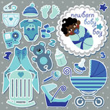 Cute items for mulatto newborn baby boy Stock Photo