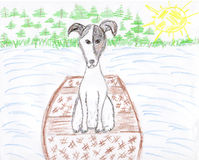 Cute jack russell terrior dog drawing. Cute puppy jack russell terrior dog drawing in boat Stock Images