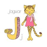 Cute jaguar with closed eyes in pink dress. Letter J of the kids alphabet with elements zentangle, doodling style for children education. Vector illustration Vector Illustration