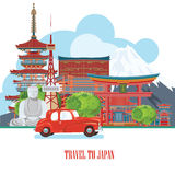 Cute Japan travel poster - travel to Japan. Royalty Free Stock Photos