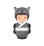 Cute japanese doll with a disguise of a mouse Stock Photos