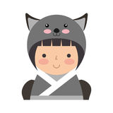 Cute japanese doll with a disguise of a mouse Stock Photography