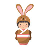 Cute japanese doll with a disguise of a rabbit Royalty Free Stock Photo