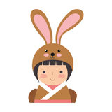 Cute japanese doll with a disguise of a rabbit Stock Photos