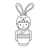 Cute japanese doll with a disguise of a rabbit Stock Image