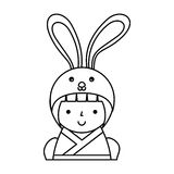 Cute japanese doll with a disguise of a rabbit Stock Photography