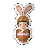 Cute japanese doll with a disguise of a rabbit Royalty Free Stock Photos