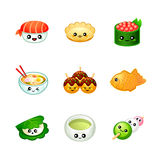 Cute Japanese food icons Stock Image