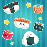 Cute Japanese food stickers Royalty Free Stock Images