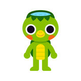 Cute Japanese monster Kappa. Cute Kappa, Japanese monster drawing. Simple flat cartoon style, kawaii vector illustration Stock Image