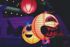 Cute Japanese Paper Lantern With Japanese Ghost Image royalty free stock photos