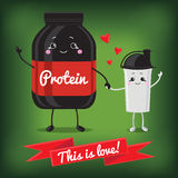 Cute Jar Sport Nutrition and Shaker. Stock Image