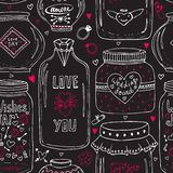 Cute jars of love pattern. Valentines seamless chalkboard background. Vector wishes jar with lettering. Love day decoration. Stock Photos