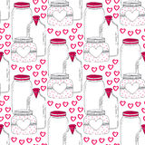 Cute jars pattern. Valentines seamless background with sweet hearts. Vector Love day decoration. Royalty Free Stock Image