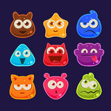 Cute jelly characters with different emotions Royalty Free Stock Photos