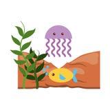 Cute jellyfish sealife icon. Vector illustration design stock illustration