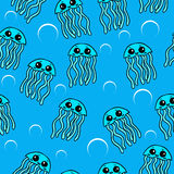Cute Jellyfish seamless pattern. Cute Jellyfish sea background. Vector seamsless pattern Royalty Free Stock Images