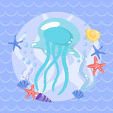 Cute  jellyfish with seasters and shells Stock Images