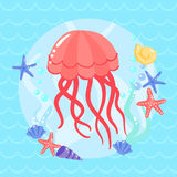 Cute  jellyfish with seasters and shells Stock Photos