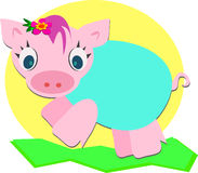Cute Jumping Baby Piglet Stock Image