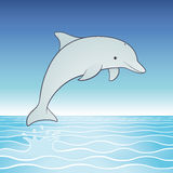 Cute Jumping Dolphin. Cartoon character.  Playful dolphin leaps out of a tropical sea into a clear blue sky Royalty Free Stock Photos