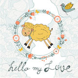 Cute jumping hand drawn sheep in floral wreath Royalty Free Stock Photography