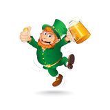 Cute Jumping Leprechaun.  Cartoon Image Royalty Free Stock Photo