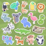 Cute jungle animal stickers. royalty free illustration