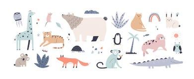 Free Cute Jungle Animals In Scandinavian Style. Children&x27;s Set Of Funny Alligator, Nordic Bear, Fox, Giraffe, Koala, Monkey Stock Photos - 216670403