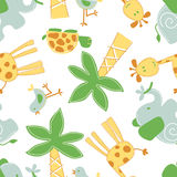 Cute jungle animals in a seamless pattern Stock Photo