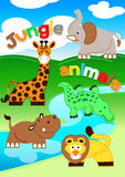 Cute jungle animals standing along a river Stock Photo