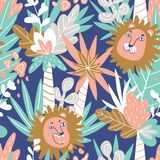 Cute jungle baby endless background. Vector seamless pattern with lions and tropics. Cute jungle baby endless background. Vector seamless pattern with lions and Royalty Free Stock Images