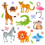 Cute jungle and safari animals vector set for kids book Royalty Free Stock Images