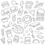 Cute Junk Food Doodles.  Royalty Free Stock Photography