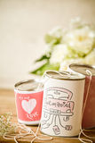 Cute just married metal cans with string Stock Photos