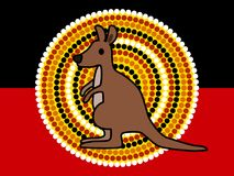 Cute kangaroo and Australian Aboriginal Flag. Vector illustration of a cute kangaroo standing with Indigenous Australian style dots at background. Australian stock illustration