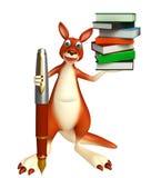 Cute Kangaroo cartoon character  with book and pen. 3d rendered illustration of Kangaroo cartoon character  with book and pen Royalty Free Stock Images