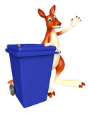 Cute Kangaroo cartoon character  with dustbin Royalty Free Stock Photo