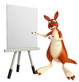 Cute Kangaroo cartoon character with easel board Stock Photos