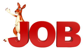 Cute Kangaroo cartoon character  with job sign Royalty Free Stock Photography