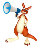 Cute Kangaroo cartoon character with loud speaker Royalty Free Stock Photography