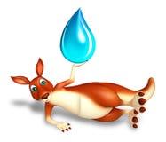 Cute Kangaroo cartoon character with water drop Royalty Free Stock Images