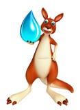 Cute Kangaroo cartoon character with water drop Royalty Free Stock Photos