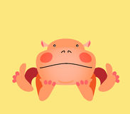 Cute kawaii animalistic cartoon character. Hippo Royalty Free Stock Photography
