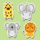 Cute kawaii animals stickers set. Vector illustration. Giraffe, elephant, koala, lion. Cute kawaii animals stickers set. Vector illustration. Cute kawaii animals Royalty Free Stock Photos